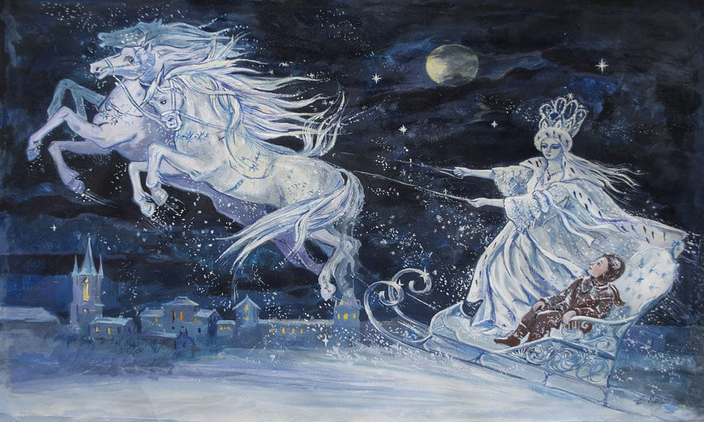 Snow Queen with horses