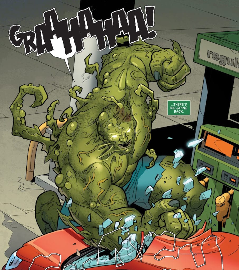 A monstrous Oliver smashes a car in Hulk #9