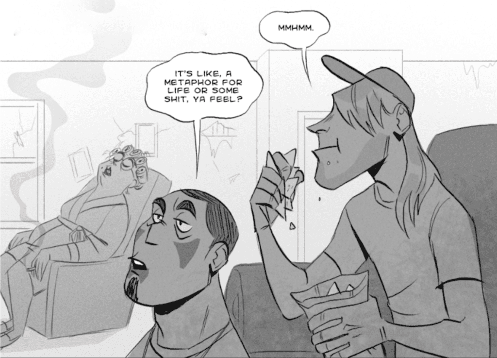 Javier and Cliff eat chips and watch a movie while Mitch's aunt sleeps in a chair in the background. Mitch's aunt is wearing a bathrobe, curlers, and glasses, and a cigarette is burning in her hand.