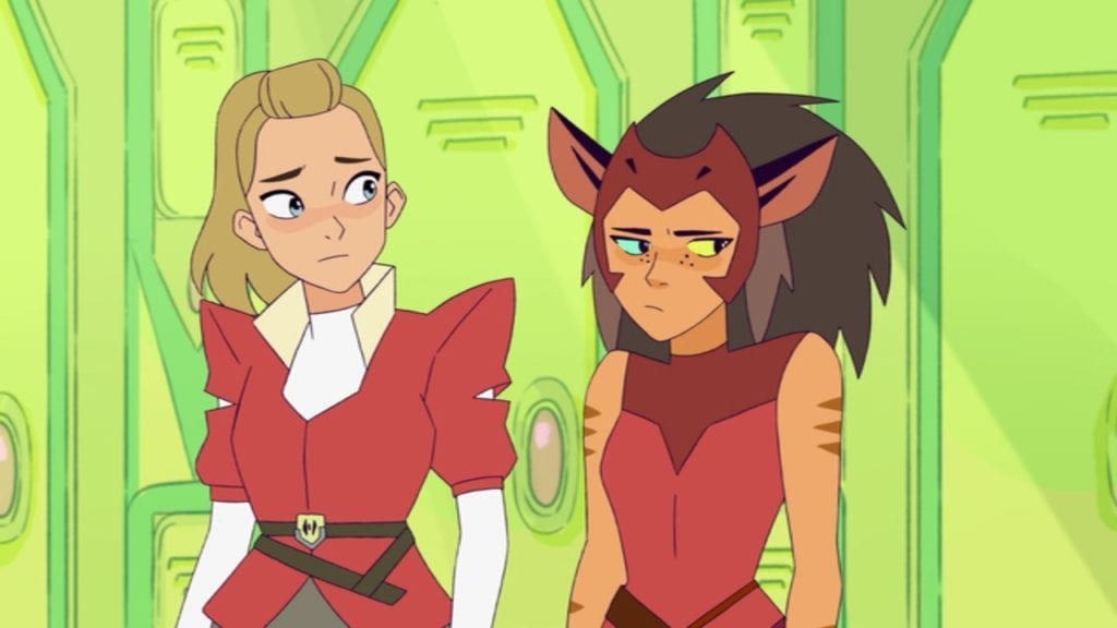 """Adora and Catra in She-Ra and the Princesses of Power 1x01 """"The Sword: Part 1"""""""