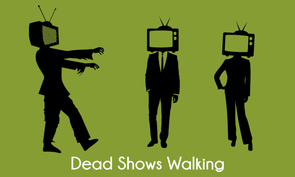 three people with tv's for heads, one is a zombie