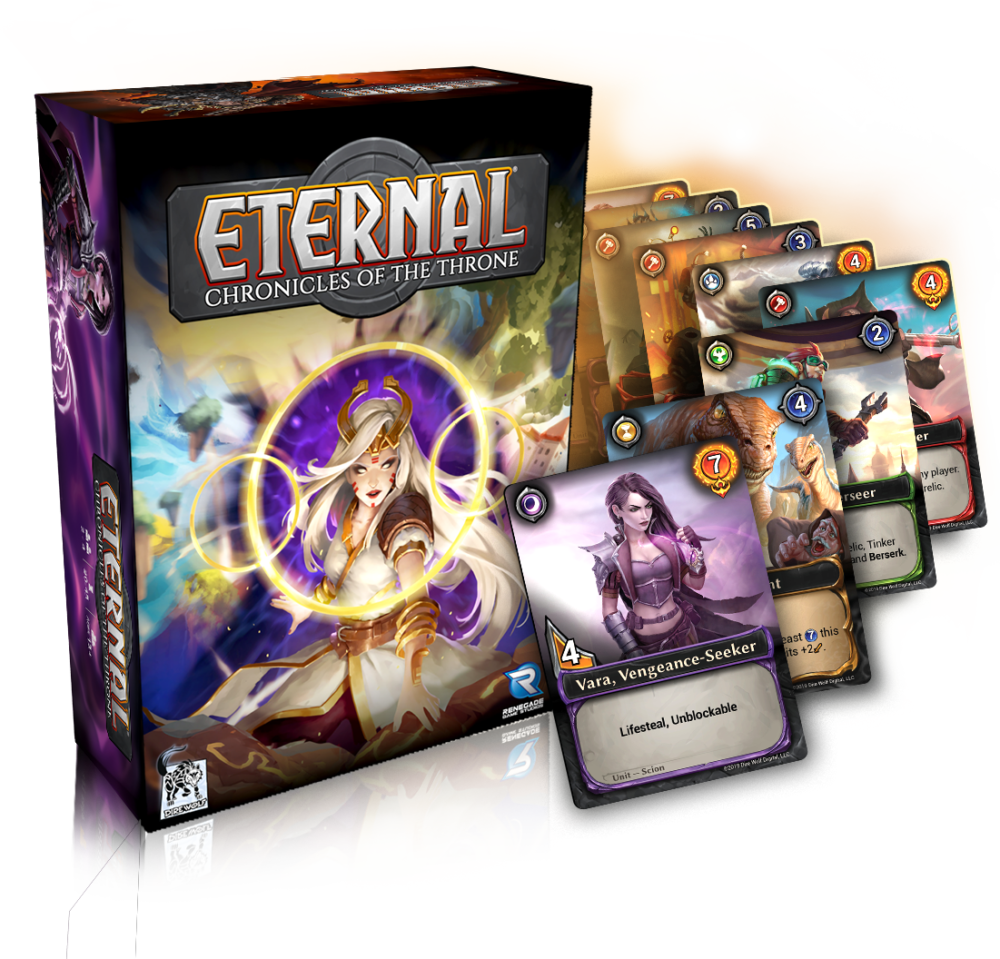 Eternal: Chronicles of the Throne box and cards