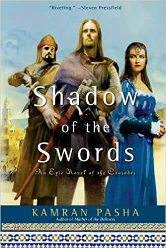 A picture of two men and a woman with the words Shadow of the Swords overlaid, book cover, Kamran Pasha