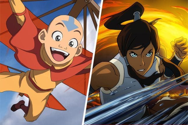 Happy Aang and Serious Korra side by side