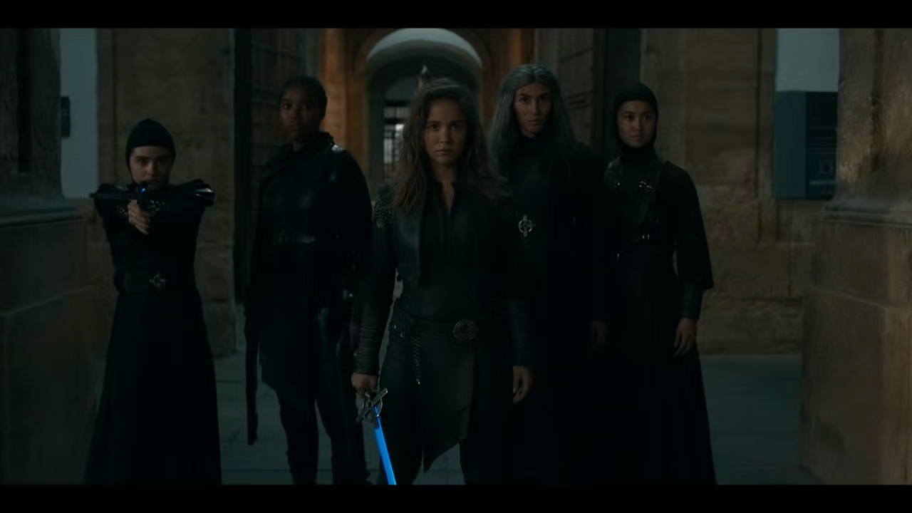 Ava flanked by Camila, Mary, Lilith and Beatrice.