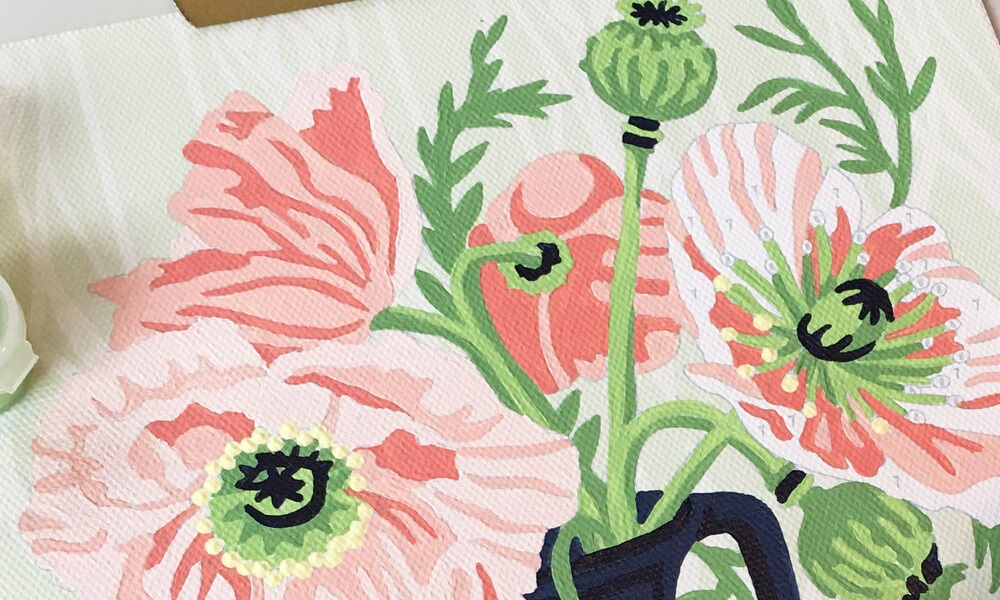 paint by number elle cree pink poppies