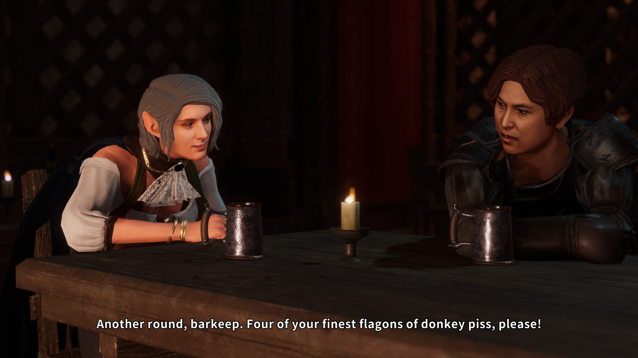 Two Solasta characters in a tavern