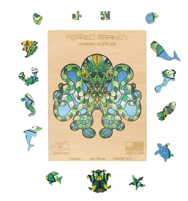 cartoon kraken puzzle in greens and blues