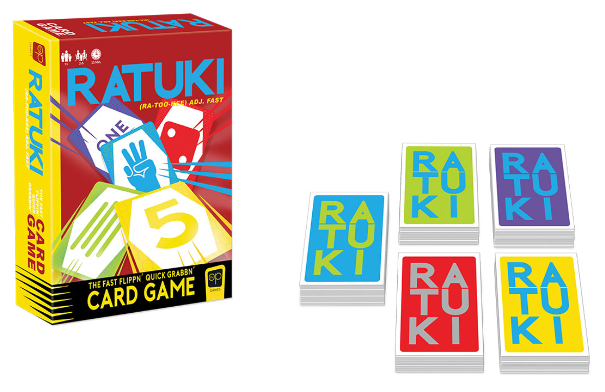 colorful cards with ratuki written on top next to the box