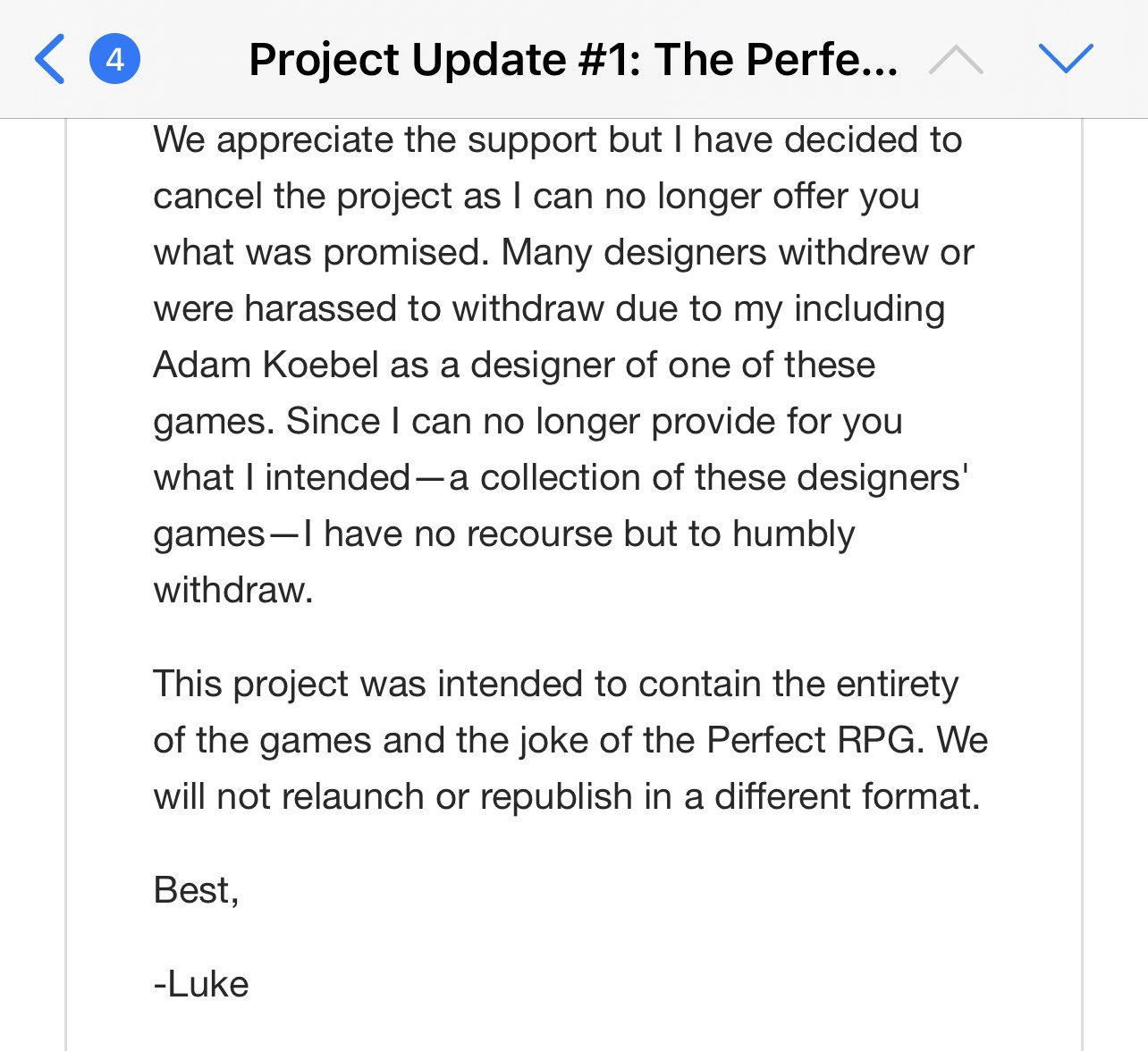 Kickstarter Update cancelling the project