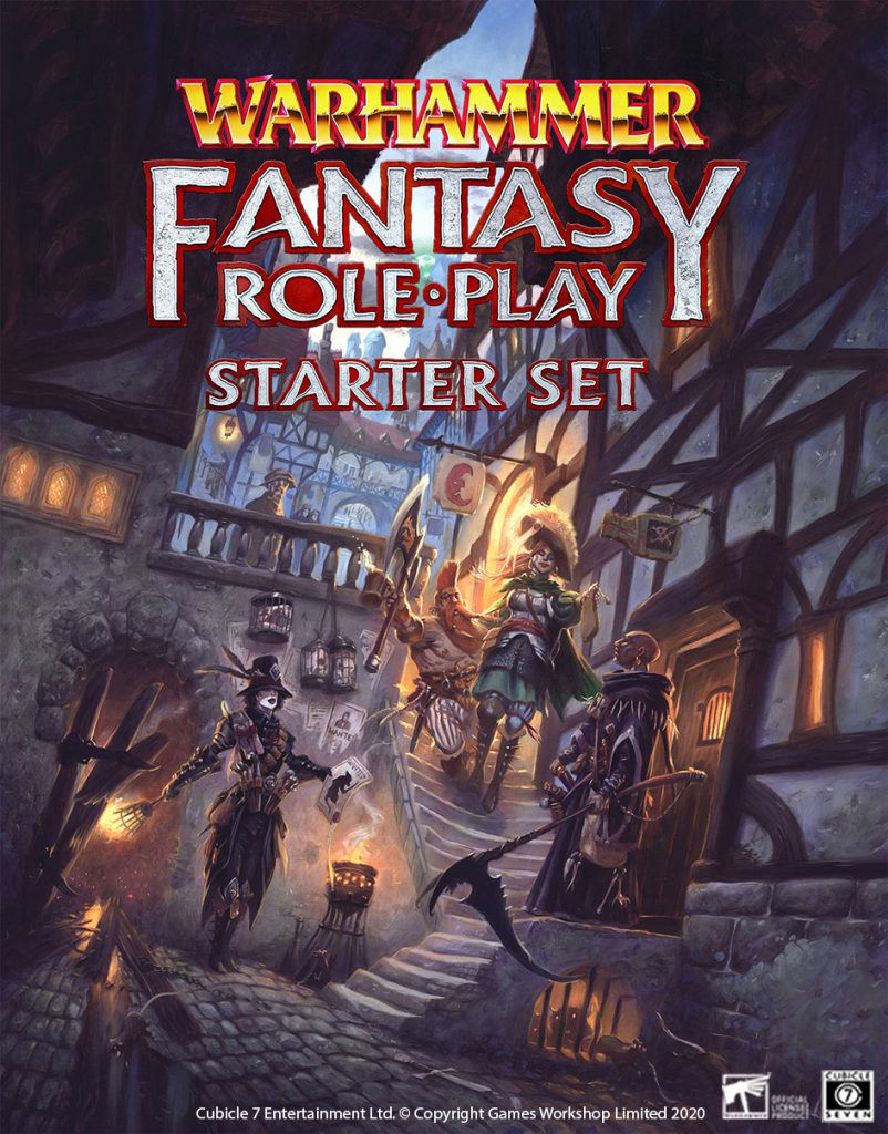 Cover of the Warhammer Fantasy Roleplay starter set. The image is of an adventuring party made up of a witch hunter, a noble, a dwarf slayer and a wizard of death walking through an old style city street. The street is dark and dirty, with rats and broken wooden doors.