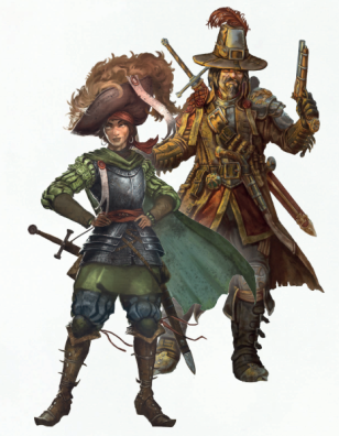 A female noble in armour with a big hat stands infront of a male witch hunter, also with a big hat.