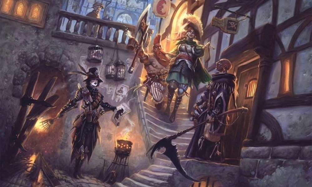 In an old medieval street a group of adventurers walk down some steep stairs. In the foreground is a witch hunter with a flaming torch, and a wizard with a scythe stands to their right. Behind the wizard comes a noble woman in a military uniform, and a orange haired dwarf with a massive axe.