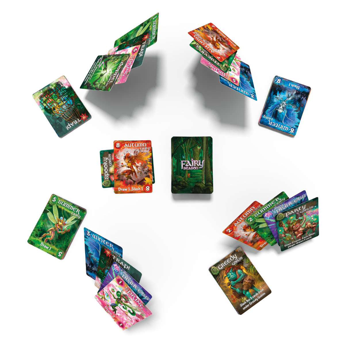 cards set up for four players