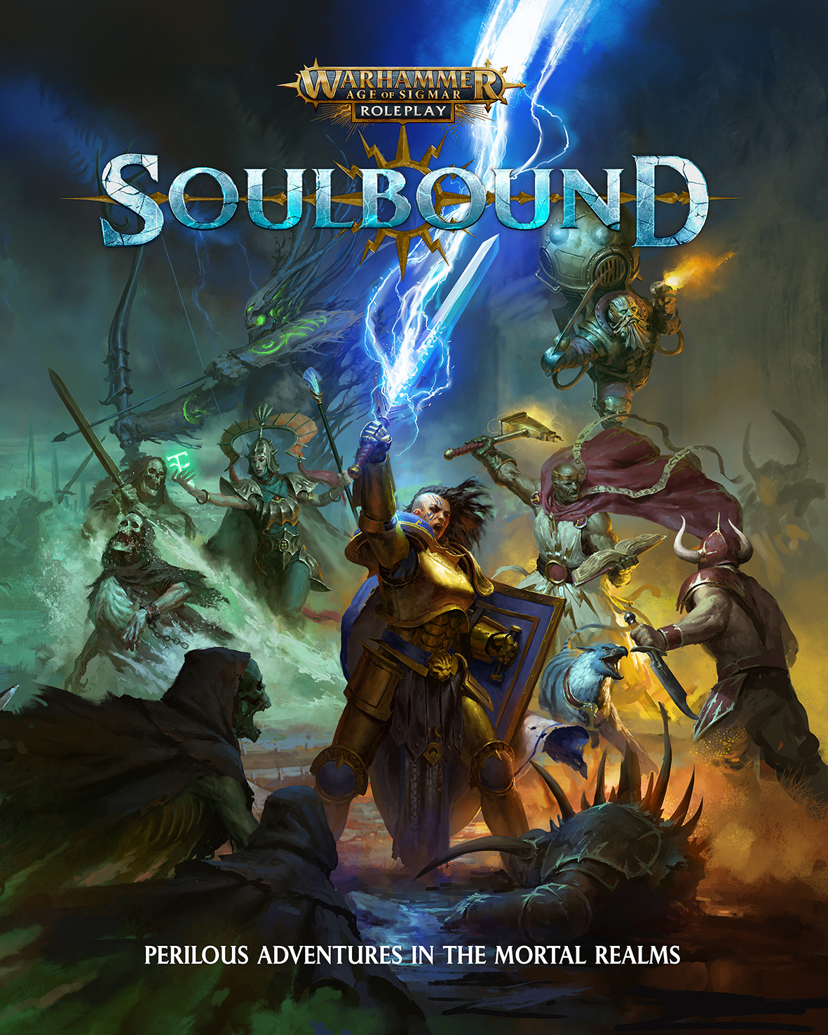 The soulbound cover page. A female warrior in armour holds a sword above her head as she calls lighting from it. Her allies: a flying dwarf pirate, a priest with a hammer, a treeman with a bow and an elven water sorcerer, help her fight off various undead and demonic enemies.