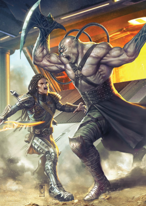 Two humanoids fight in front of the spaceship. The one to the left is smaller and wields and sword with a strange energy blade, while the one on the right is a large genetically-modified being with axes for hands.