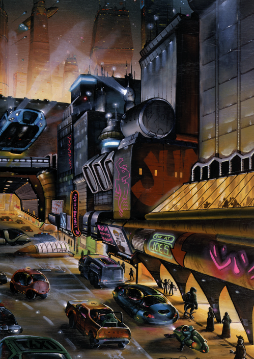 A futuristic street scene at night, with strange vehicles, aliens and very modern and stylized buildings.