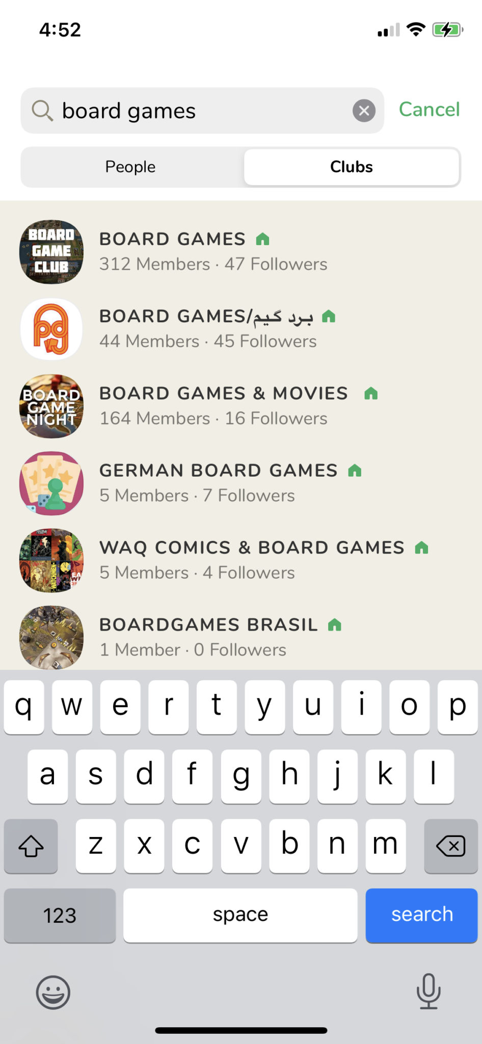 Board game search on clubhouse