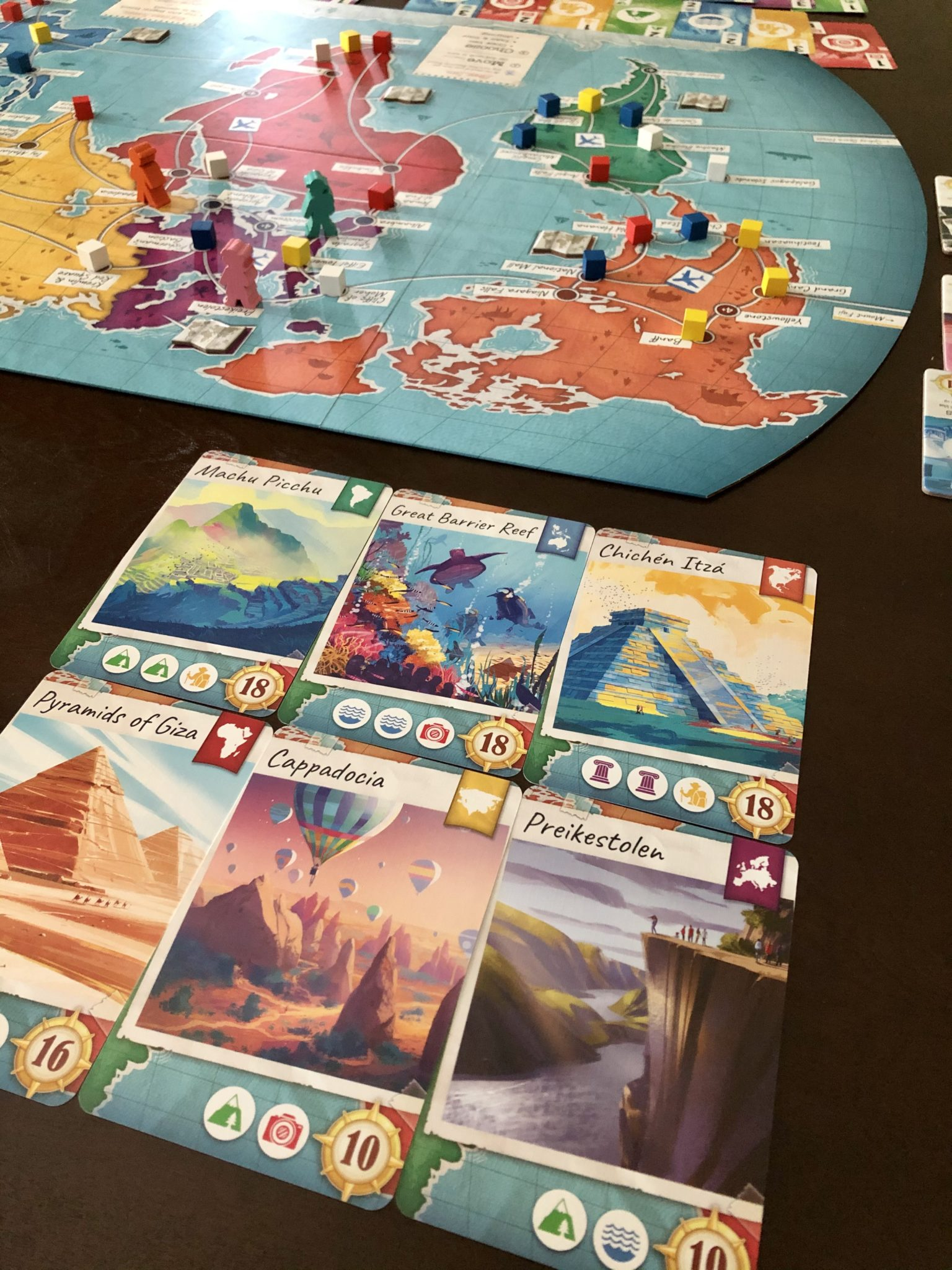 Trekking The World board and sample destination cards