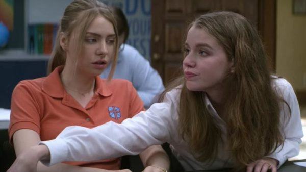 Maddie Phillips as Sterling Wesley and Devon Hales as April Stevens in Teenage Bounty Hunters.