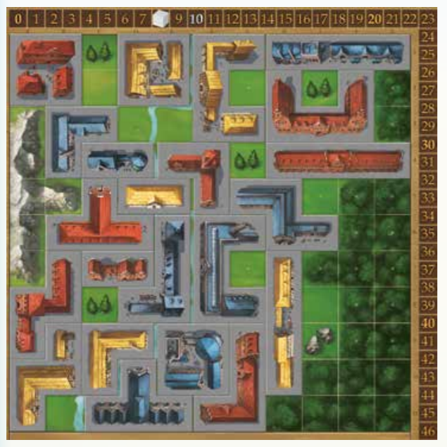 example game board with buildings laid out around the board
