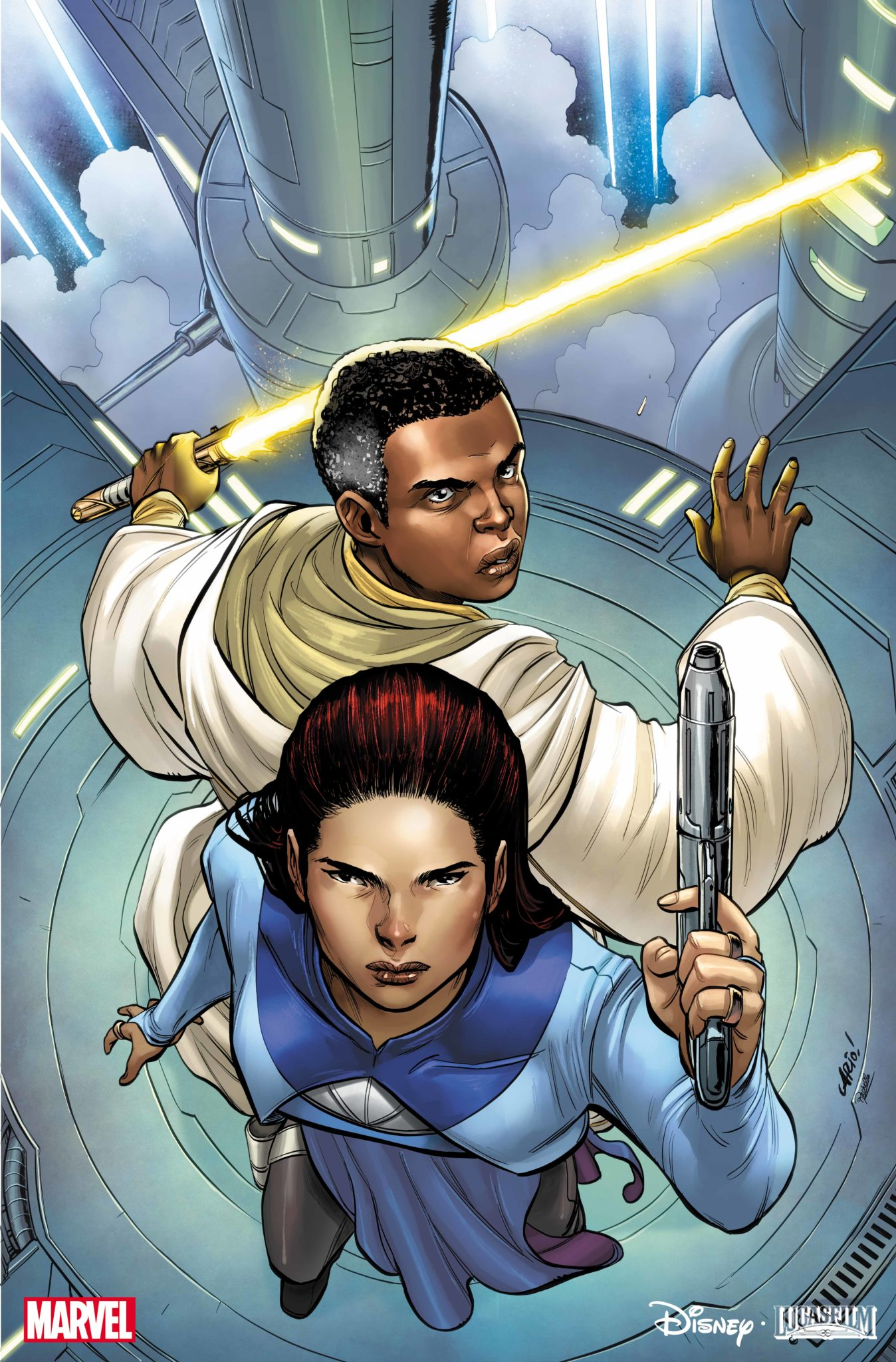 A redheaded woman stands with a gun in the air, back to back with a taller, black man with graying hair and yellow lightsaber