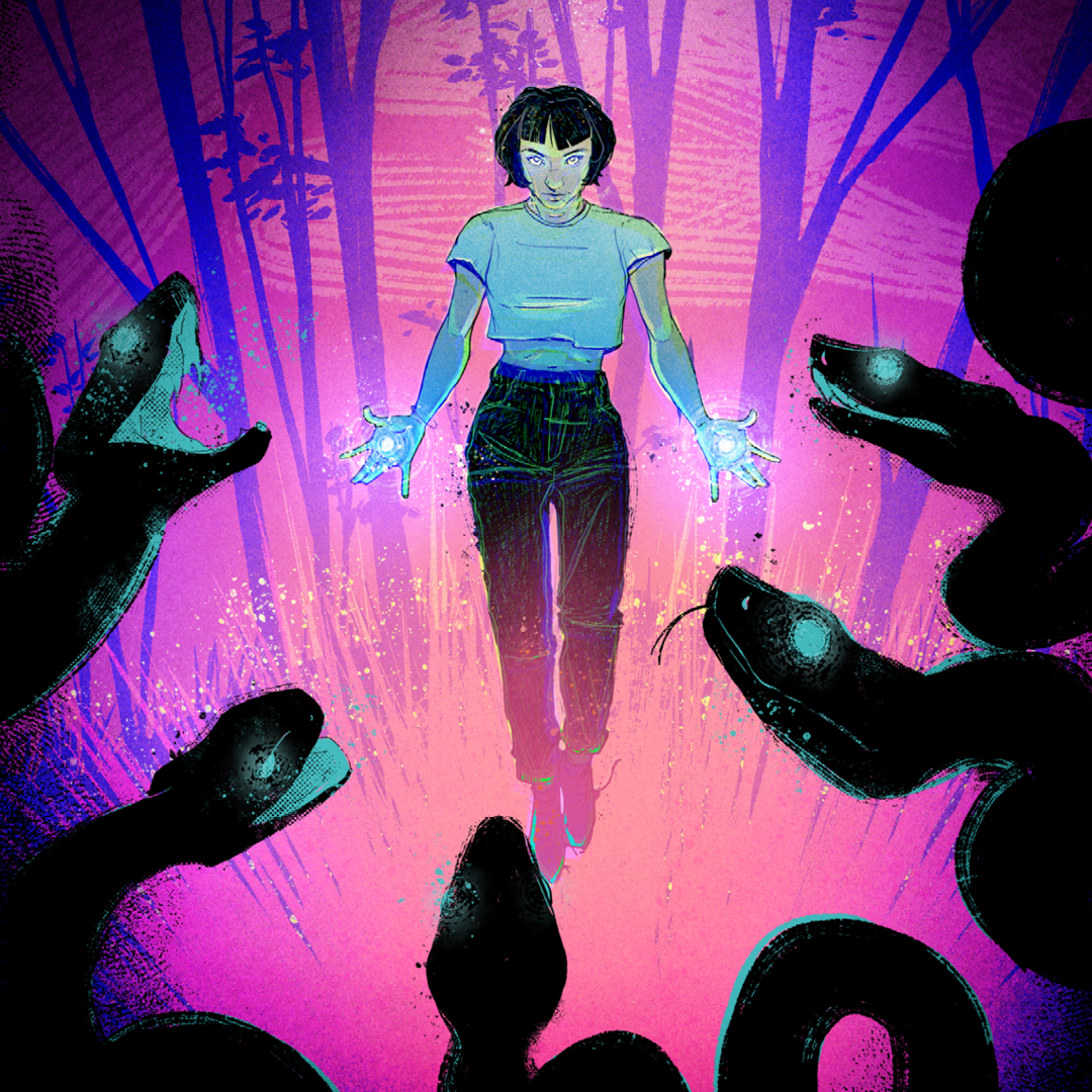 a shorthaired girl surrounded by creatures