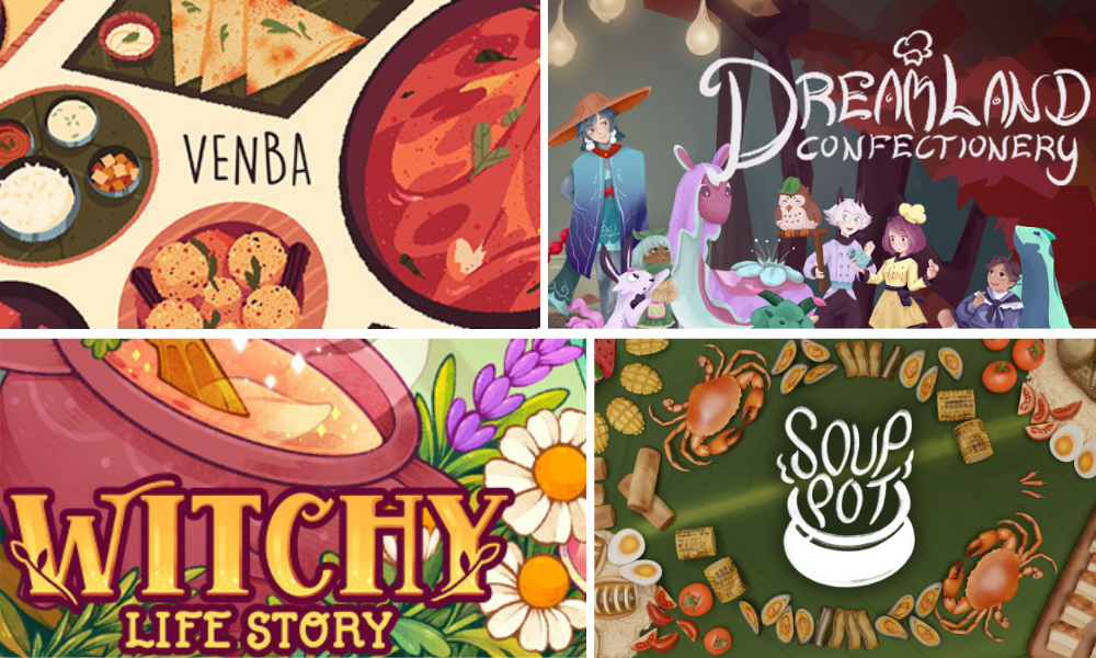 colorful collage of food based video games