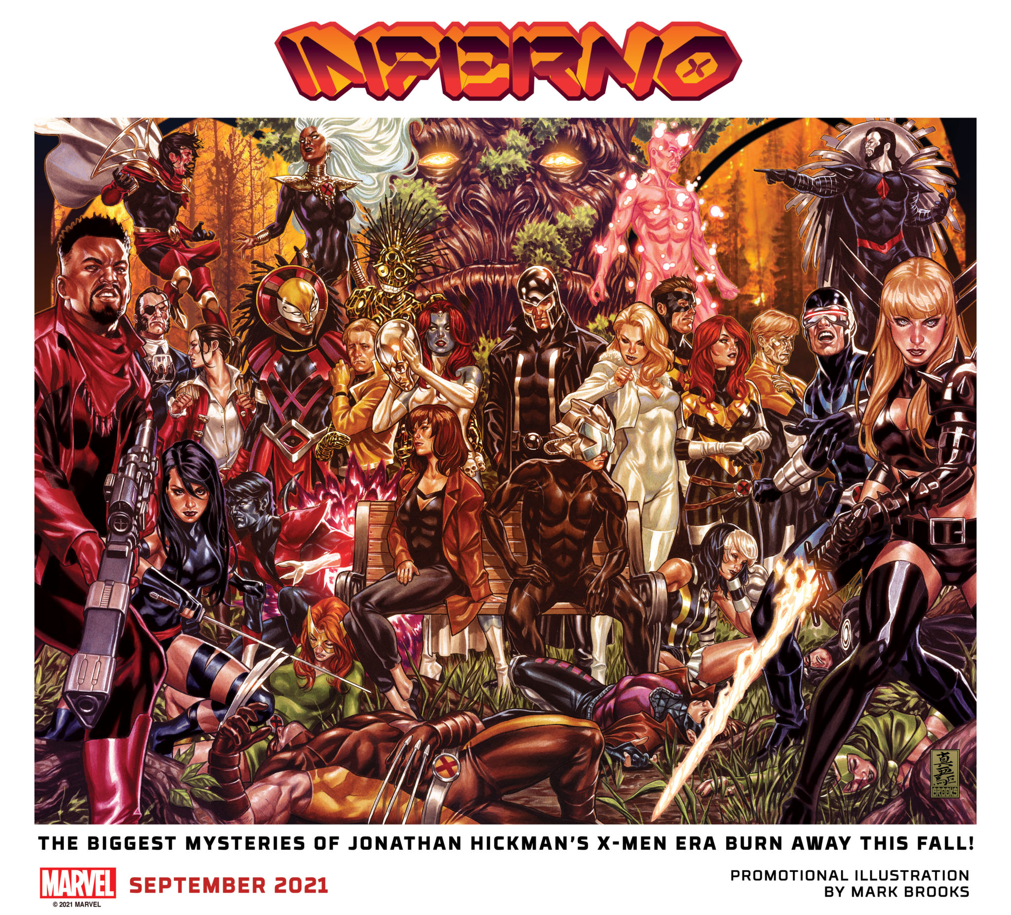 Inferno promotional art depicting X-Men characters surrounding Professor X and Moira on a park bench