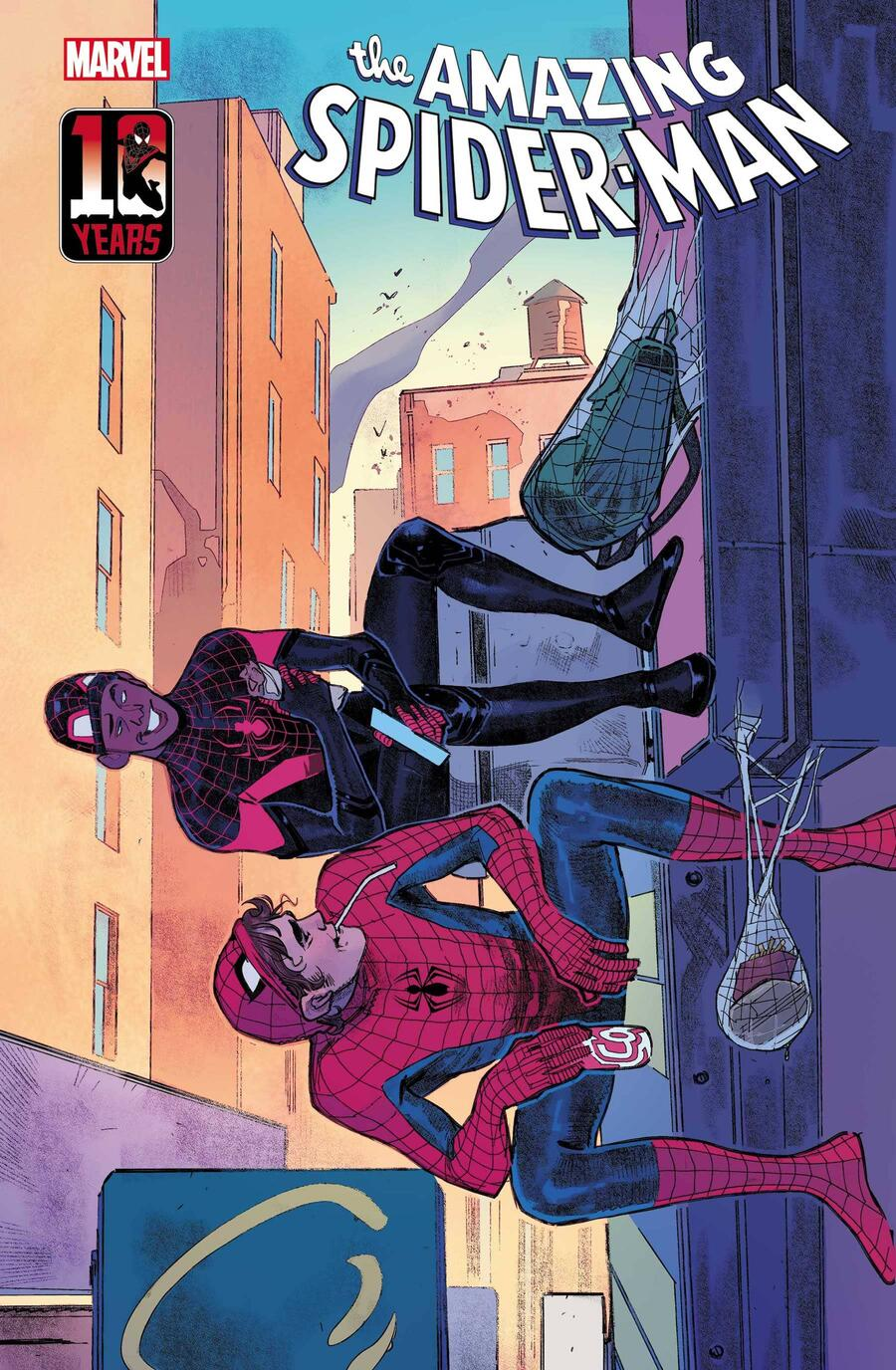 AMAZING SPIDER-MAN #74 MILES MORALES 10th ANNIVERSARY VARIANT COVER by SARA PICHELLI with colors by TAMRA BONVILLAIN