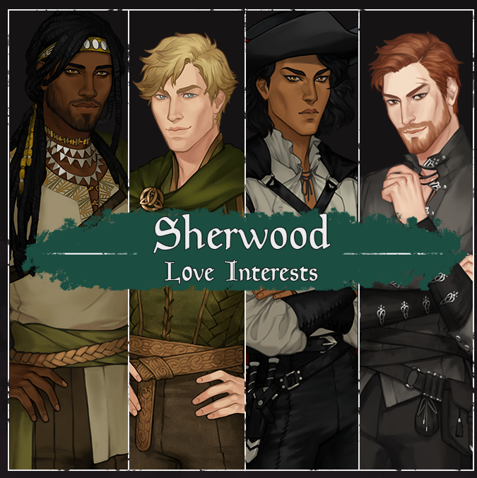 the four love interests in Sherwood Forest, from left to right are a dark skinned Black man, a white man, a darker skinned man, and a white man (druid) a Black man