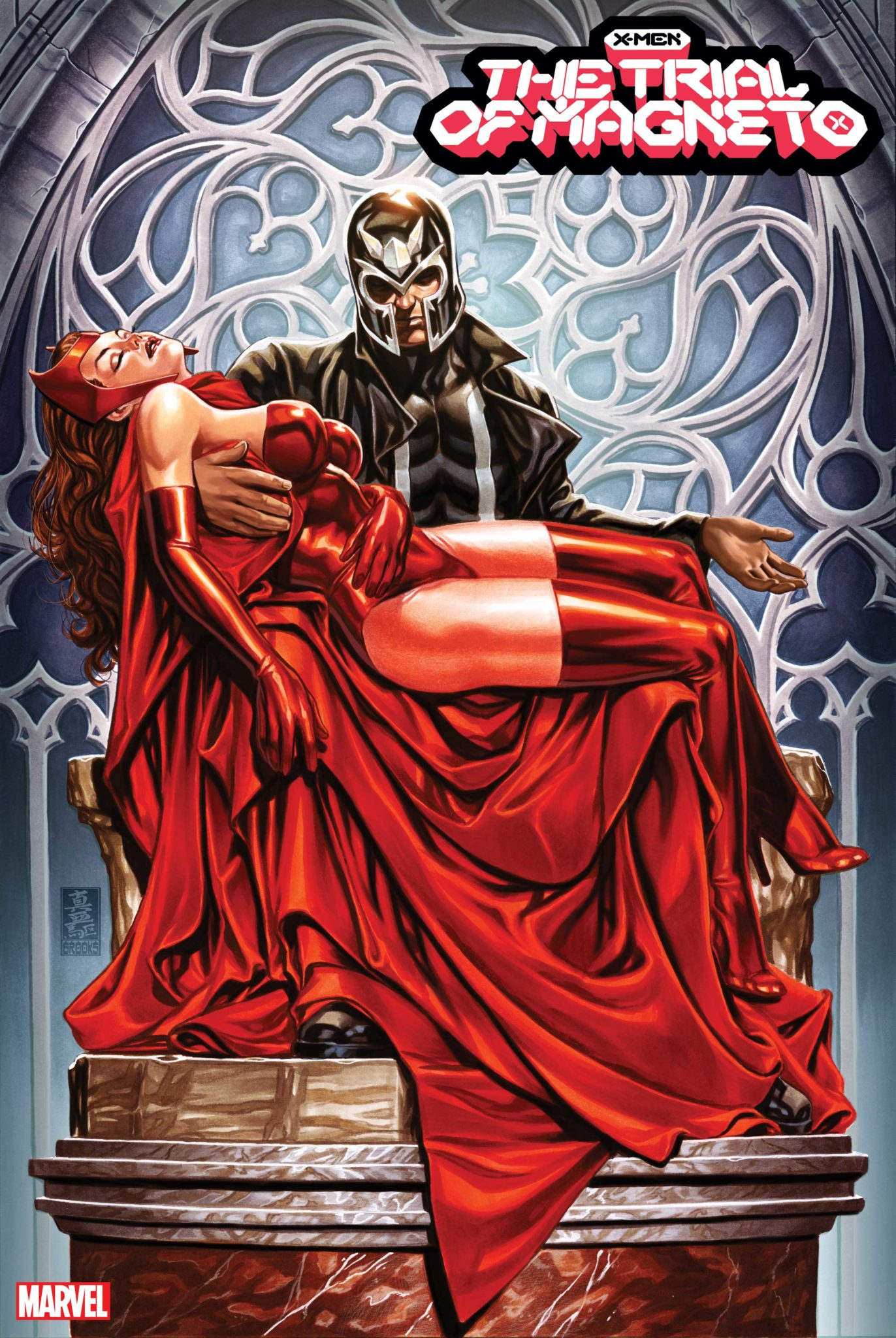 The Trial of Magneto cover art of Magneto cradling The Scarlet Witch