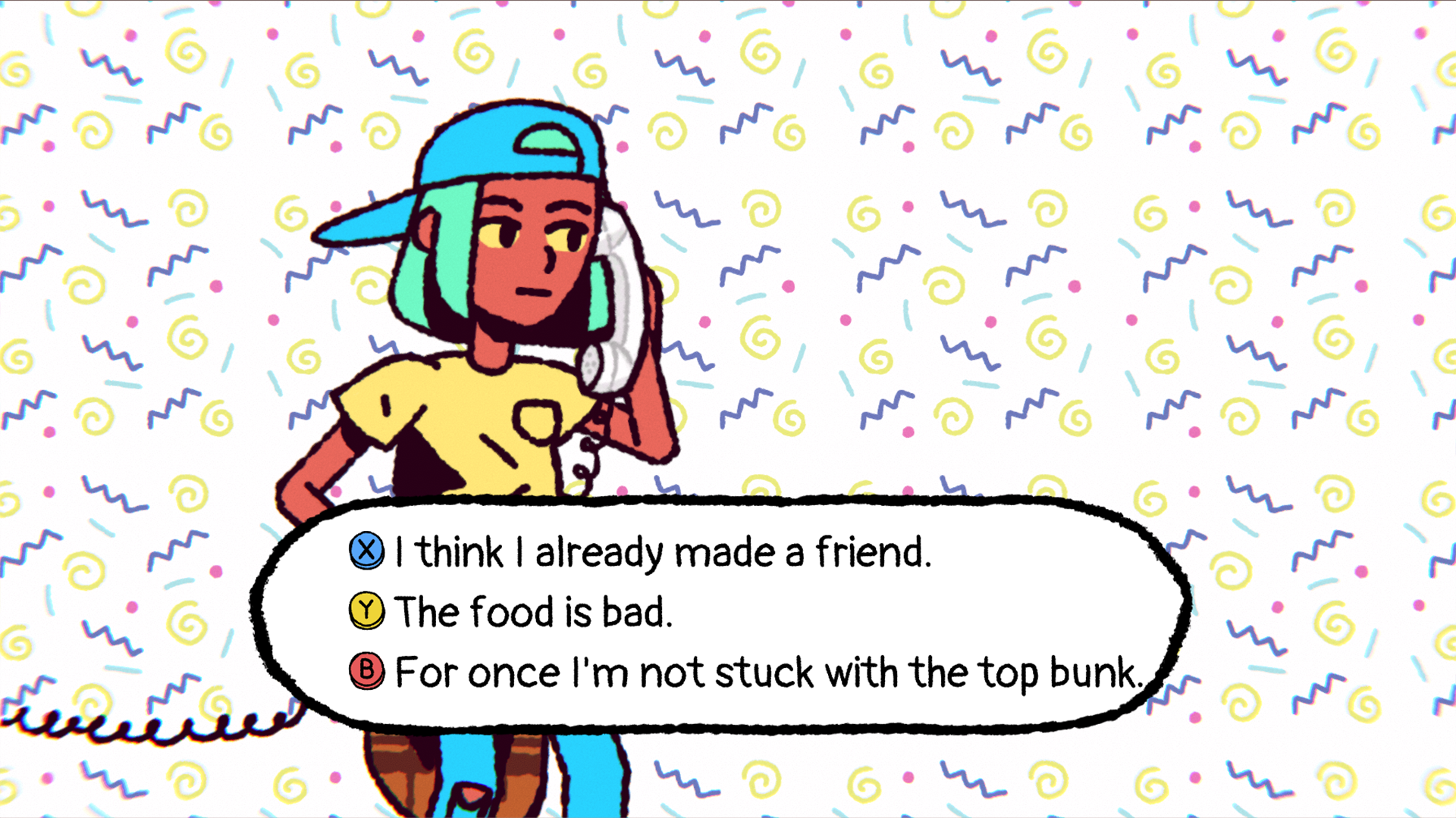 big con dialogue options, I already made a friend, the food is bad, and for once I'm not stuck with the top bunk