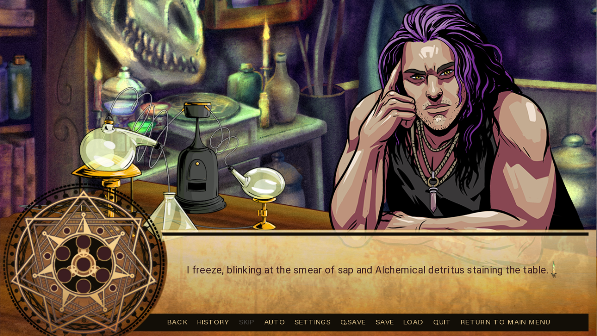 man with purple hair staring at player sitting at Alkahest table